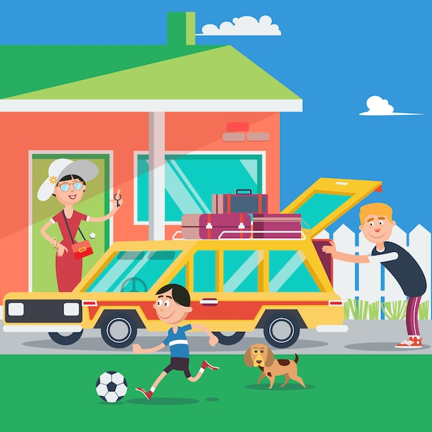 Familienurlaub. sommerreise mit dem auto. vektor-illustration Premium Vektoren