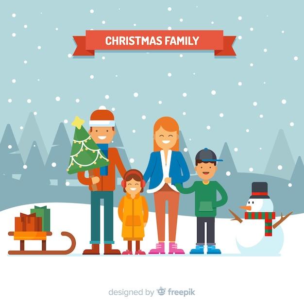 Familienweihnachtsszene Kostenlosen Vektoren