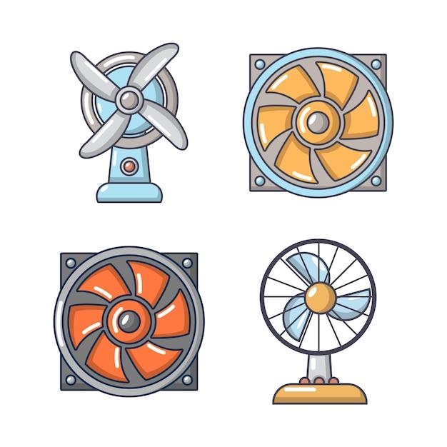 Fan-icon-set. karikatursatz fanvektorikonen eingestellt lokalisiert Premium Vektoren