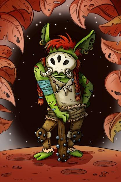 Fantasie-cartoon-troll komische art-konzeptkunst der spielcharakter-illustration Premium Vektoren