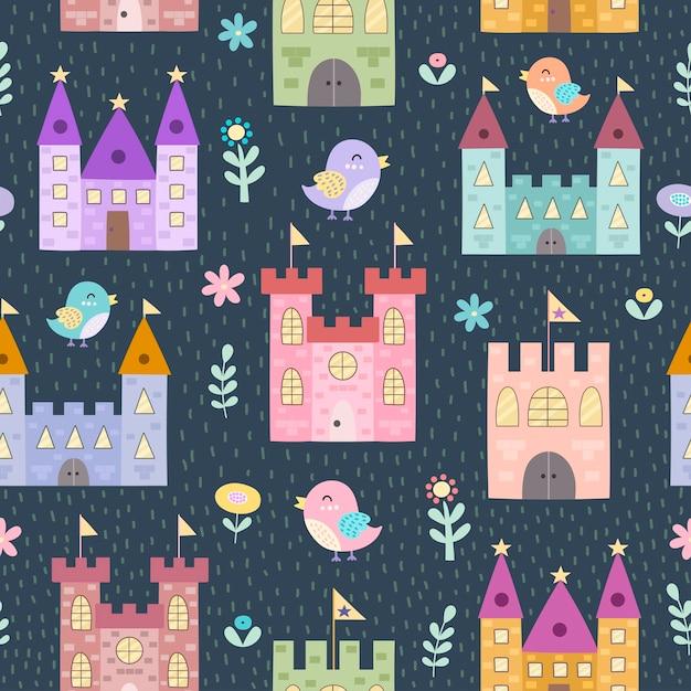Fantasieschlösser und nahtloses muster der kleinen vögel. textur im kindlichen stil Premium Vektoren