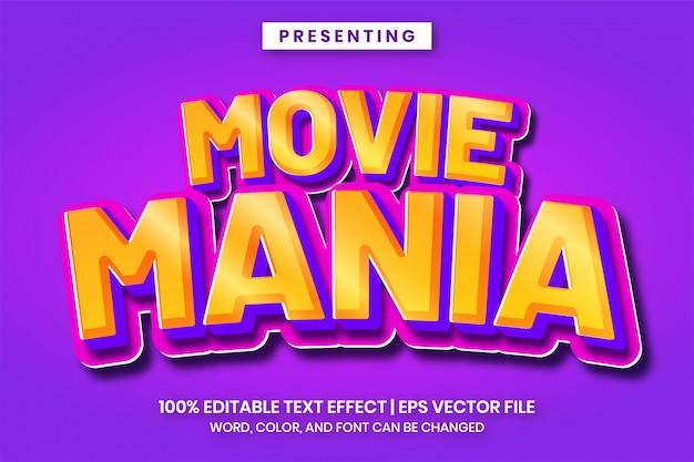 Fantasievoller farbverlaufs-3d-texteffekt für spiellogo-titel- oder zeichentrickfilm Premium Vektoren