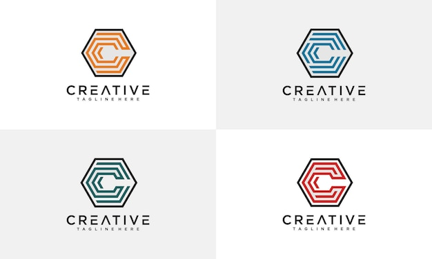 Fantastische buchstabe c sechseck-logo-vorlage Premium Vektoren