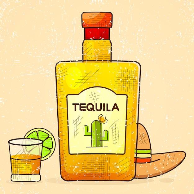 Fantastische flasche tequila mit schnapsglas und mexikanischem hut Premium Vektoren