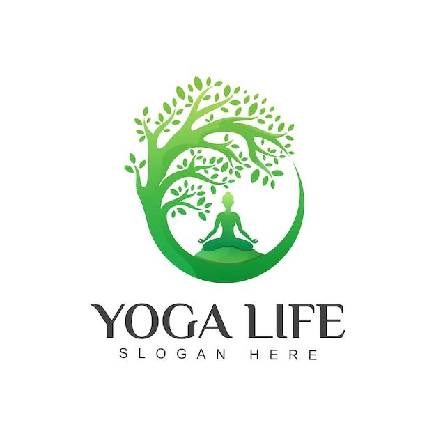 Fantastische grüne yoga-lebenslogo-entwurfsschablone Premium Vektoren
