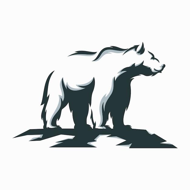 Fantastische illustrationsentwürfe des weißen bären Premium Vektoren
