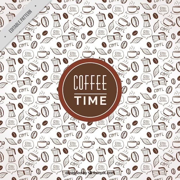 Fantastische kaffee-muster mit dekorativen gegenständen Kostenlosen Vektoren