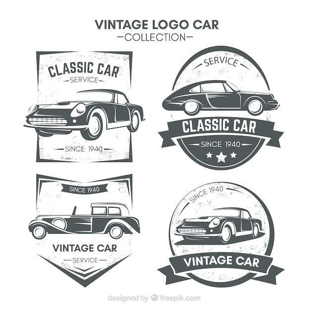 Fantastische Logos mit Oldtimern Kostenlose Vektoren