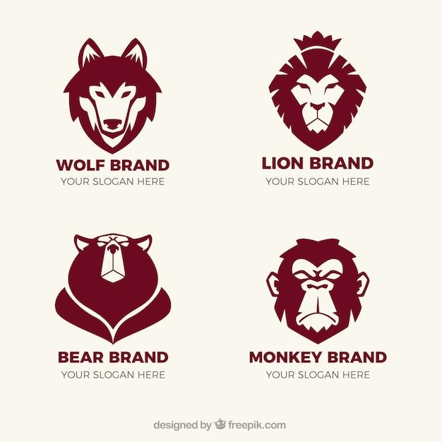 Fantastische logos mit tieren Kostenlosen Vektoren