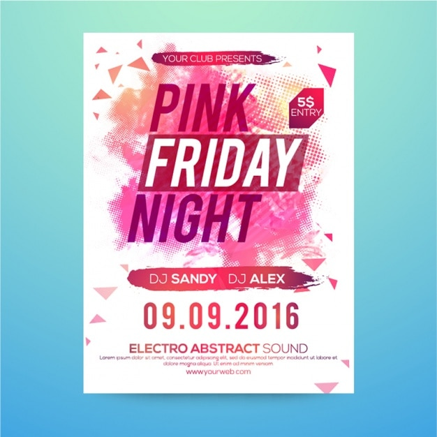 Fantastische party broschüre in rosa tönen Premium Vektoren