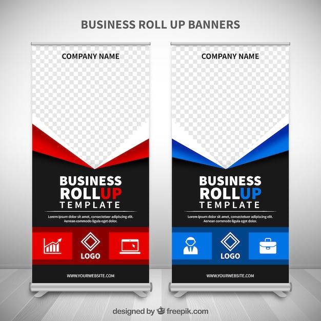 Fantastische Roll-ups mit blauen und roten Details Kostenlose Vektoren