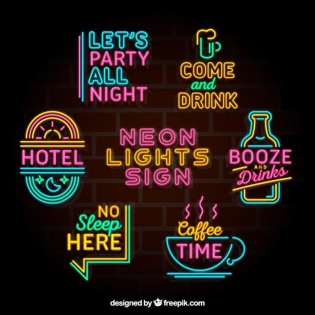 Fantastische sammlung von bunten neonlicht plakate Kostenlosen Vektoren