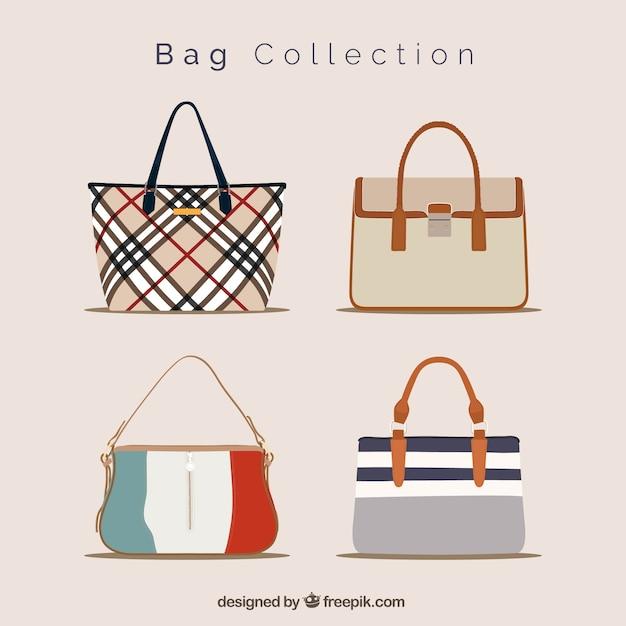 Fantastische sammlung von eleganten handtaschen Kostenlosen Vektoren