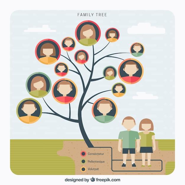 Fantastische stammbaum in flaches design Kostenlosen Vektoren
