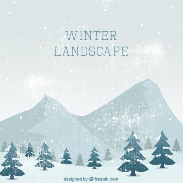 Fantastische vintage landschaft von bäumen und berge für den winter Kostenlosen Vektoren