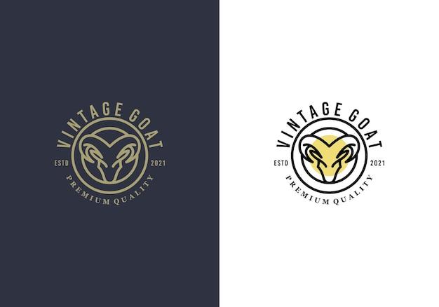 Fantastische ziegenkopf-luxus-logo-design-vorlage Premium Vektoren