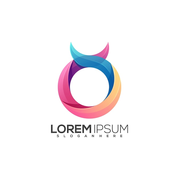 Fantastischer buchstabe o logo bunte zusammenfassung Premium Vektoren