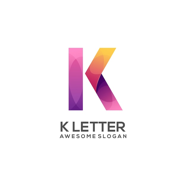 Fantastischer k-farbverlauf des k-buchstabenlogos Premium Vektoren