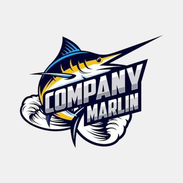 Fantastischer marlin-logo-designvektor Premium Vektoren