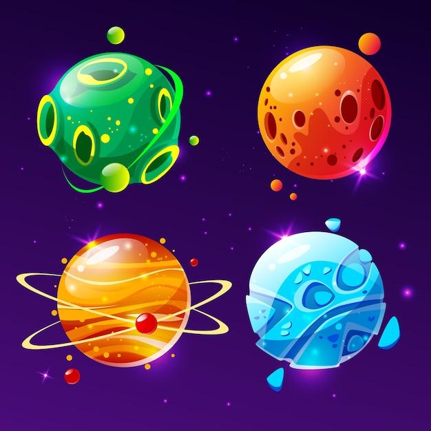 Fantastischer planet der karikatur, weltenasteroidensatz. kosmisches, alien raumelement für spiel Kostenlosen Vektoren