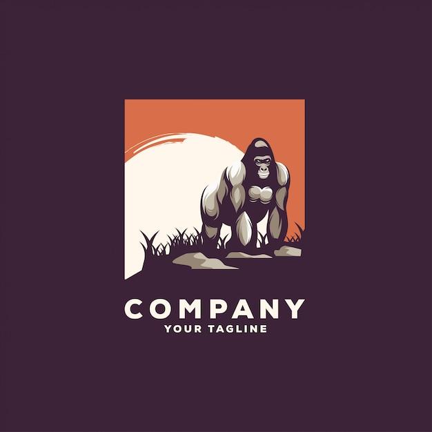 Fantastischer stehender gorilla-logoentwurf Premium Vektoren