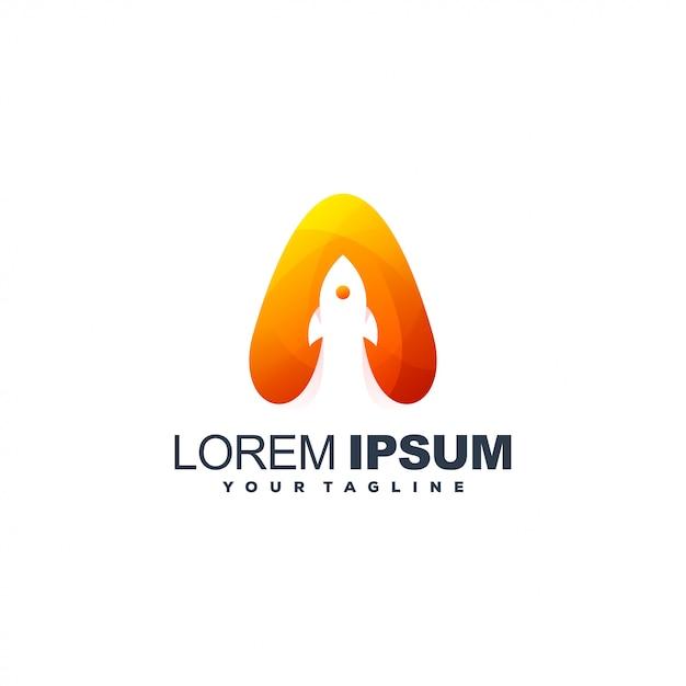 Fantastischer steigungsraketen-logoentwurf Premium Vektoren