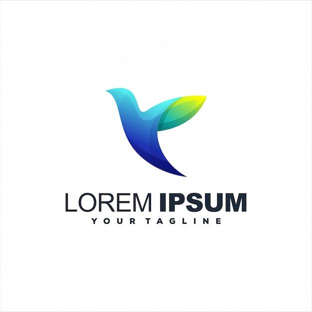 Fantastischer vogelsteigungs-logoentwurf Premium Vektoren