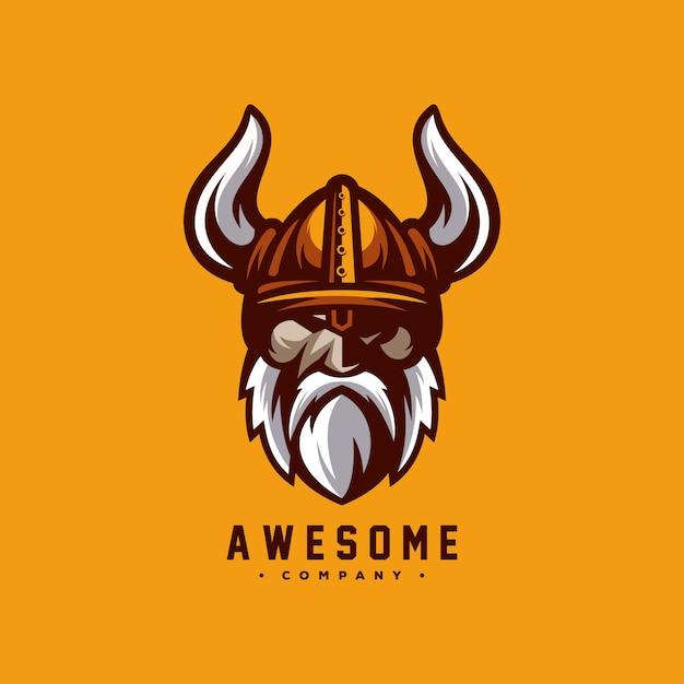 Fantastischer wikinger-logo-designvektor Premium Vektoren