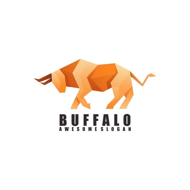 Fantastisches büffel-origami-logo Premium Vektoren