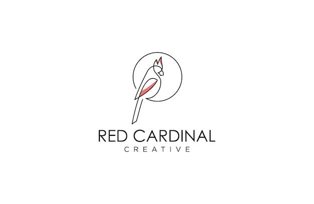 Fantastisches line-art-kardinal-logo Premium Vektoren