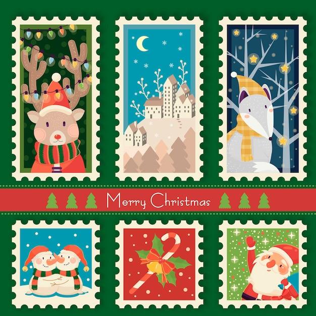 Fantastisches weihnachtsstempelsammlungsschablonenentwurf Premium Vektoren