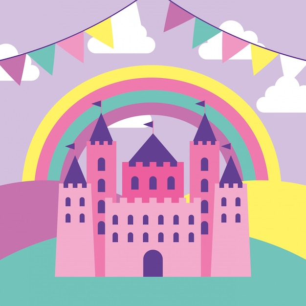 Fantasy schloss cartoon Premium Vektoren