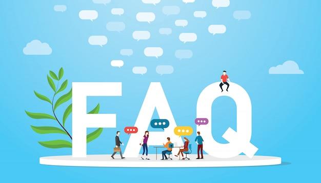 Faq häufig gestelltes fragenkonzept mit teamleuten und großen wörtern Premium Vektoren