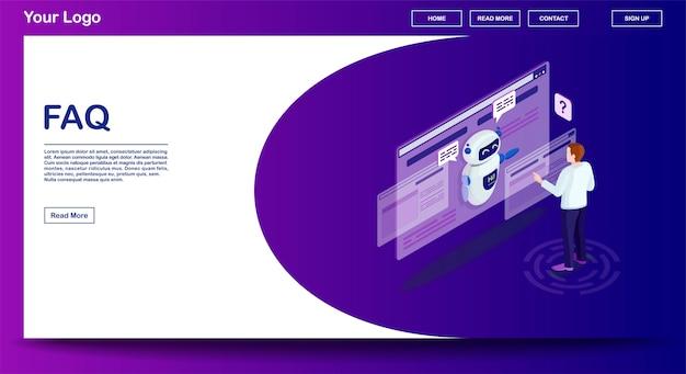 Faq-webseitenvektorschablone mit isometrischer illustration Premium Vektoren