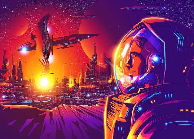 Far future human colonization Premium Vektoren