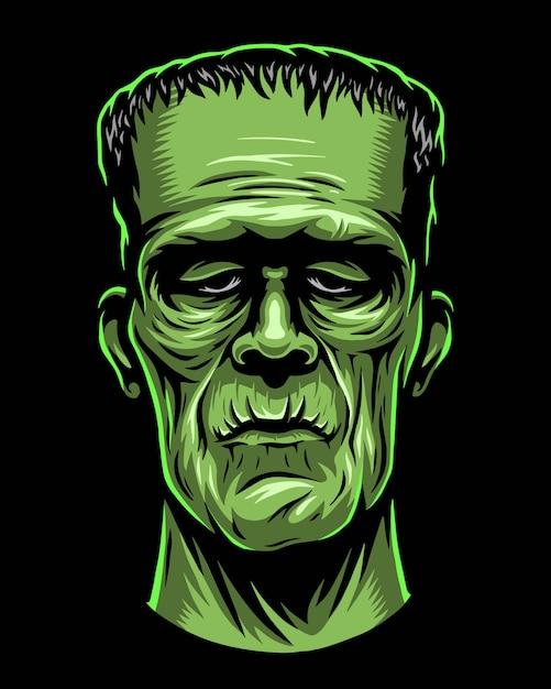 Farbabbildung des monsters, zombiekopf Premium Vektoren