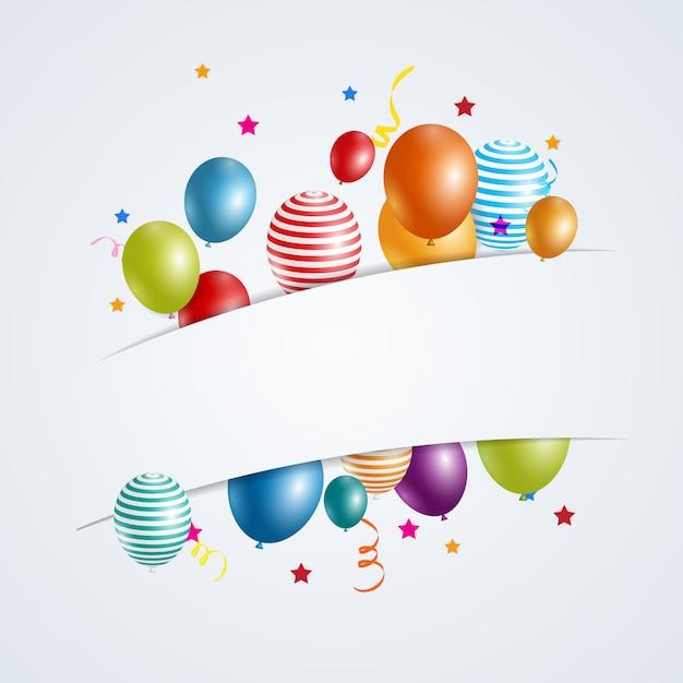 Farbe glänzend alles gute zum geburtstag luftballons banner Premium Vektoren