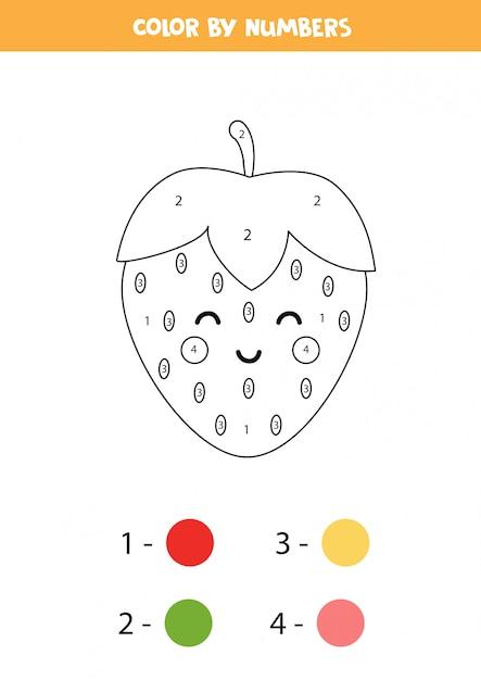 farbe niedliche kawaii erdbeere durch zahlen lernspiel