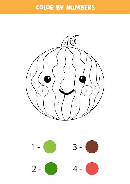 farbe niedliche kawaii wassermelone durch zahlen