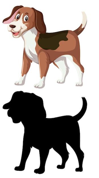 Farbe und silhouette des beagle-hundes Premium Vektoren