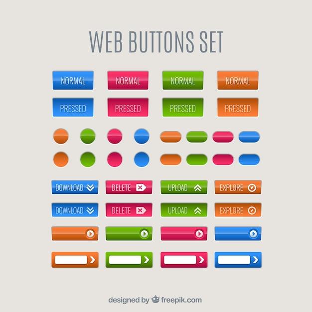 Farbe web-tasten eingestellt Kostenlosen Vektoren