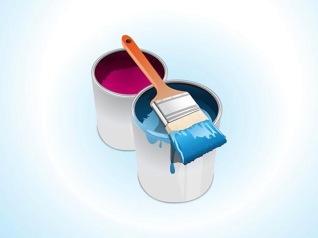 farbeimer und pinsel kunst vektor download der kostenlosen vektor. Black Bedroom Furniture Sets. Home Design Ideas