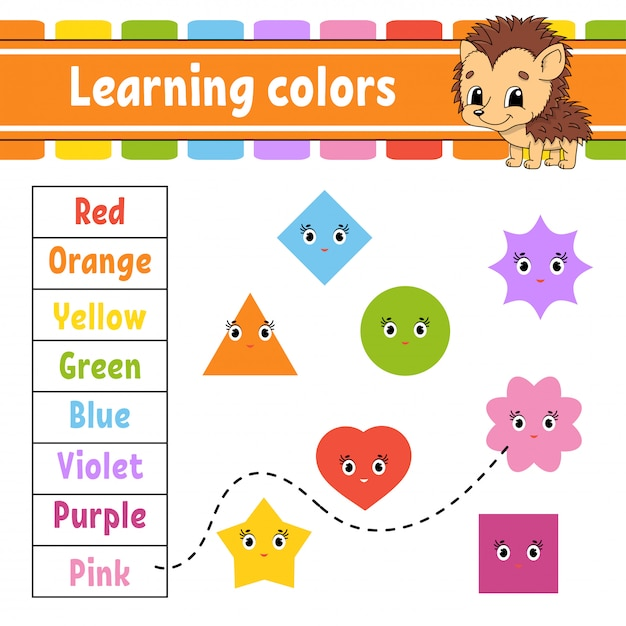 Farben lernen. arbeitsblatt zur bildungsentwicklung. Premium Vektoren
