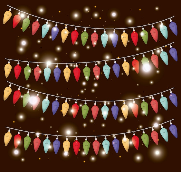 Farben weihnachtsbeleuchtung hängen dekoration Premium Vektoren