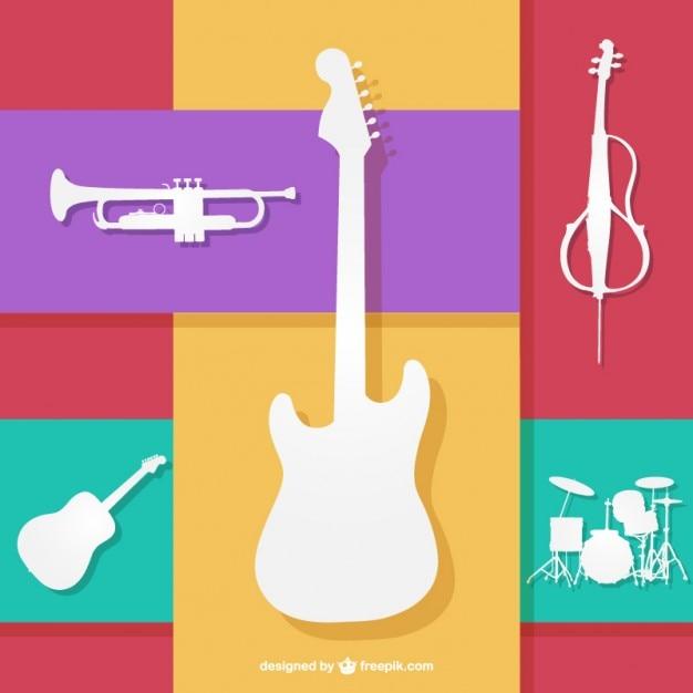 Farbenfrohes musikinstrumenten vektor Kostenlosen Vektoren