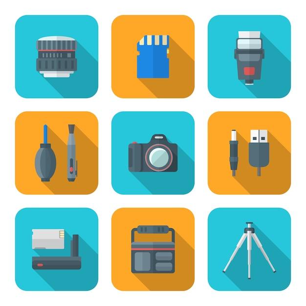 Farbflache artquadrat-digitalfotografie bearbeitet ikonen Premium Vektoren