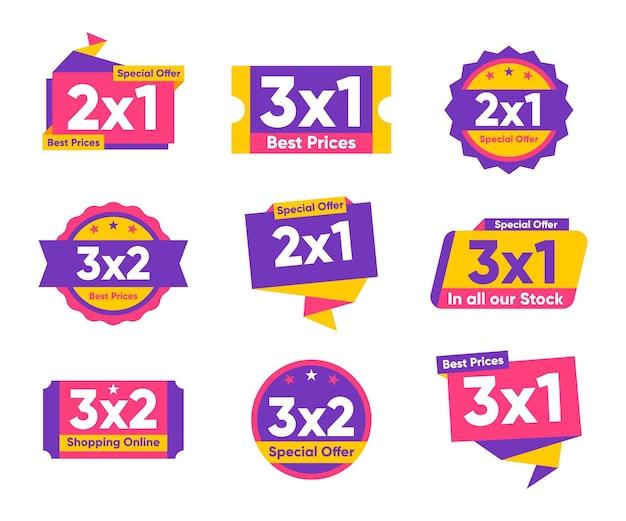 Farbige 2x1 sonderangebot etikettenkollektion Premium Vektoren