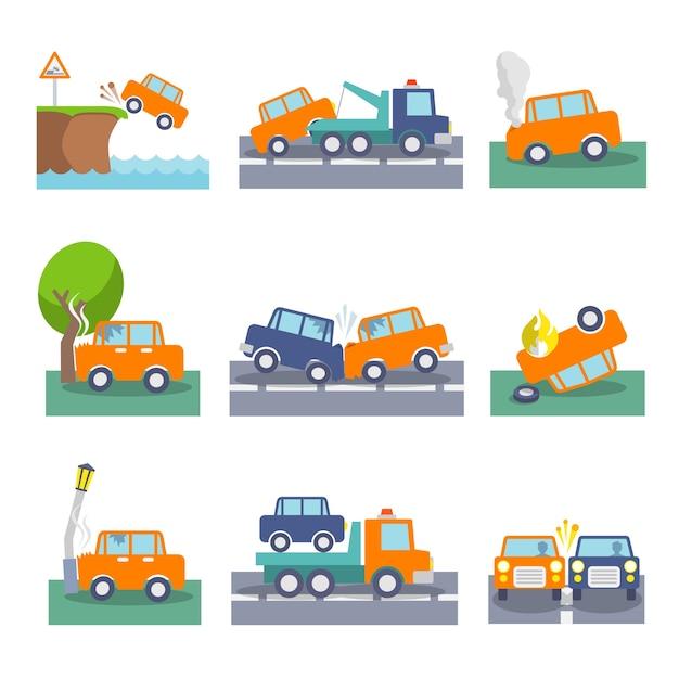Farbige auto crash unfälle und fahrsicherheit symbole gesetzt isoliert vektor-illustration Kostenlosen Vektoren