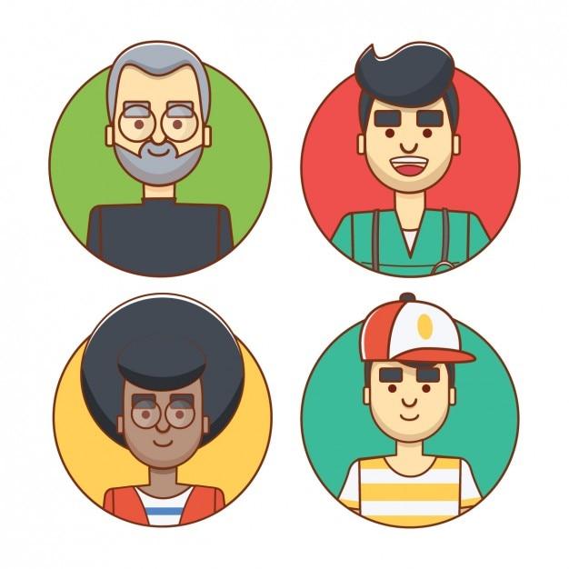 Farbige avatare von männern Kostenlosen Vektoren