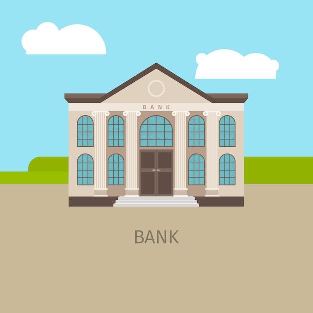 Farbige bankgebäudeillustration Premium Vektoren